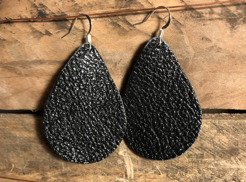 Black Teardrop Leather Earrings.