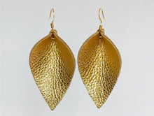 Katie - Leather Leaf Shaped Earrings in Gold