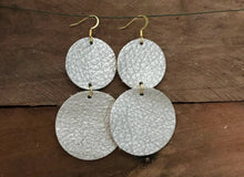 CoCo - Champagne Circle Leather Earrings