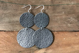 CoCo - Gun Metal Circle Leather Earrings.
