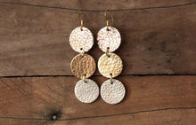 Maureen - Rose Gold Glitter, Gold, and Champagne Leather Earrings