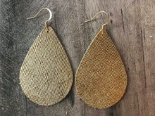 Gold Saffiano Teardrop Leather Earrings