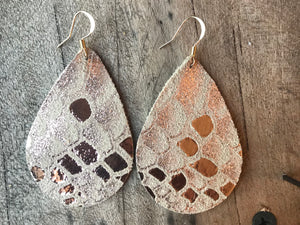 Snake Rose Gold Metallic Teardrop Leather Earrings