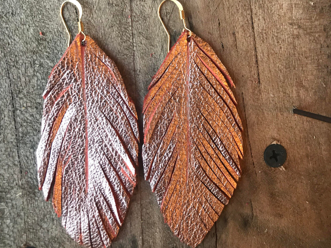 Abby - Rose Gold Leather Feather Earrings