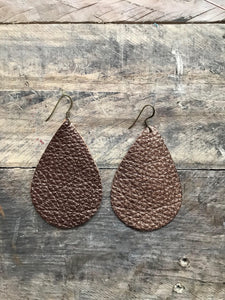 bronze-metallic-teardrop-leather-earrings