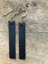 Joanna - Black Leather Bar Rectangle Earrings