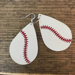 Little League - Baseball Teardrop Leather Earrings.