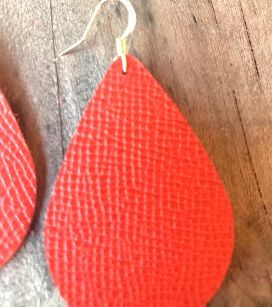 tangerine-orange-saffiano-teardrop-leather-earrings