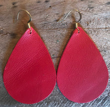 Red Teardrop Leather Earrings