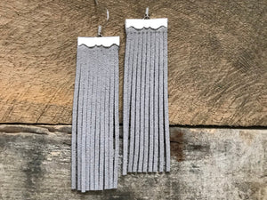Sydney - Suede Leather Fringe Earrings in Light Grey