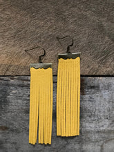 Sydney - Suede Leather Fringe Earrings in Canary Yellow