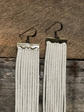 Sydney - Suede Leather Fringe Earrings in Ivory