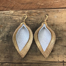 Katie - Double Layered Leather Leaf Shaped Earrings in Gold and Champagne