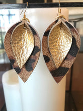 Katie - Double Layered Leather Leaf Shaped Earrings in Metallic Gold and Leopard