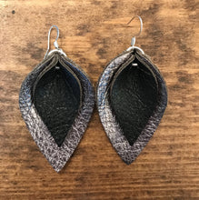 Katie - Double Layered Leather Leaf Shaped Earrings in Metallic Gunmetal and Black.