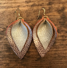 Katie - Double Layered Leather Leaf Shaped Earrings in Rose Gold and Champagne