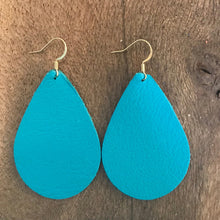 Matte Teal Teardrop Leather Earrings