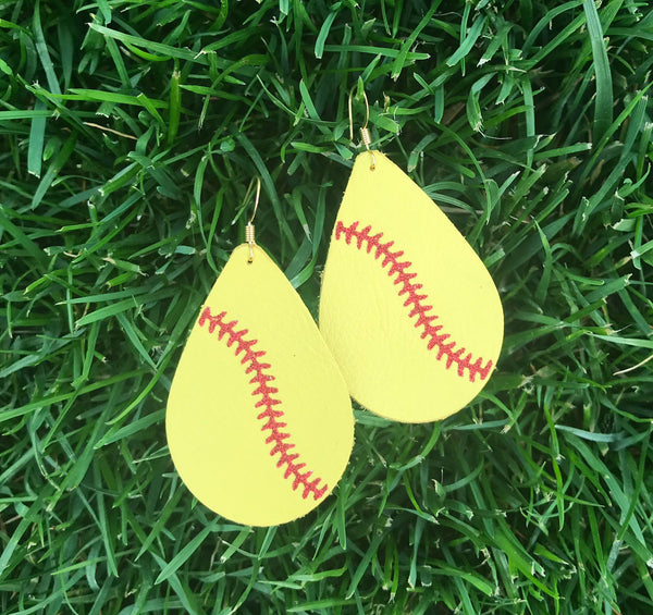 softball-teardrop-leather-earrings