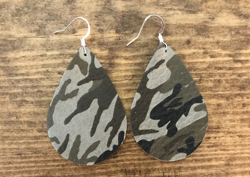 Grey and Green Camouflage Teardrop Leather Earrings.