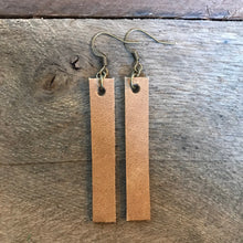 Joanna in Tan - Tan Leather Bar Rectangle Earrings