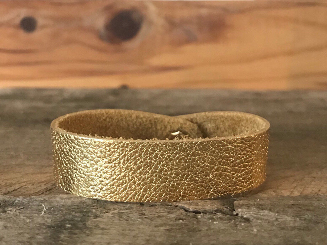 Gold Thin Cuff Leather Bracelet