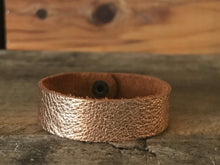 Rose Gold Thin Cuff Leather Bracelet