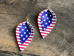 Americana Katie - Double Layered Vegan Leather Leaf Shaped Earrings