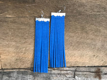 Sydney - Suede Leather Fringe Earrings in Royal Blue