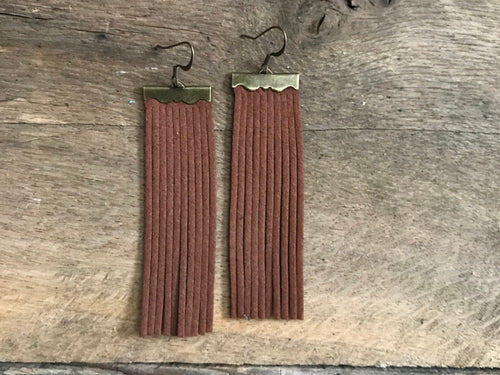 Sydney - Suede Leather Fringe Earrings in Chocolate