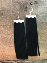 Sydney - Suede Leather Fringe Earrings in Black