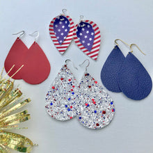 Fireworks Teardrop Glitter Vegan Leather Earrings.