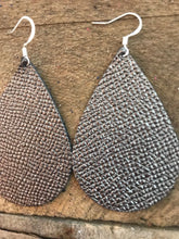 Gunmetal Grey Saffiano Teardrop Leather Earrings