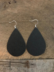 Black Saffiano Teardrop Leather Earrings