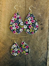 Wildflower Floral Teardrop Leather Earrings.