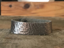 Gunmetal Thin Cuff Leather Bracelet