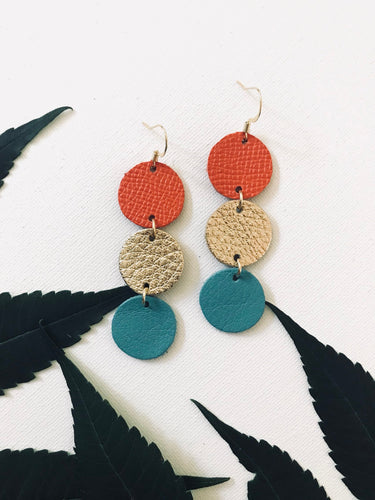 Maureen - Summer Glam- Tangerine Orange Saffiano, Metallic Gold, and Teal Leather Earrings