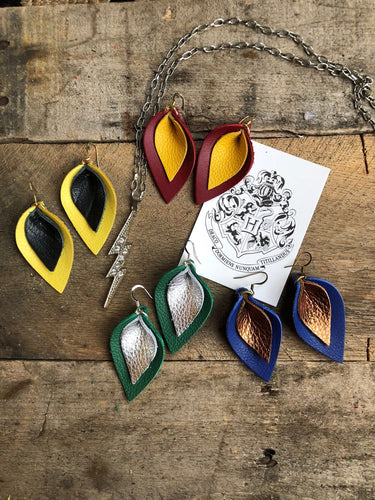 Katie - Magical Collection -Double Layered Leather Leaf Shaped Earrings.