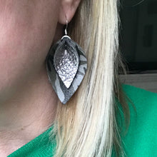 Katie - Double Layered Leather Leaf Shaped Earrings in Grey and Green Camo and Metallic Gunmetal