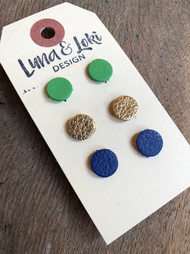 Meghan - Leather Circle Stud Earrings Set - Metallic Gold, Shamrock Green and Navy Blue.