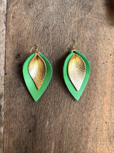 Katie - Double Layered Leather Leaf Shaped Earrings in Shamrock Green and Metallic Gold.