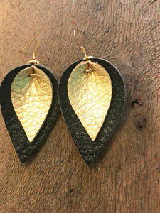 Katie - Double Layered Leather Leaf Shaped Earrings in Black and Metallic Gold.