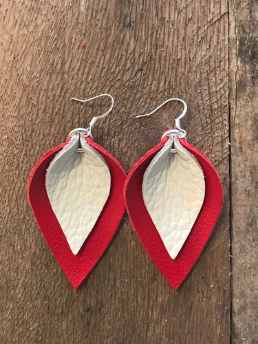 Katie - Double Layered Leather Leaf Shaped Earrings in Red and Cream