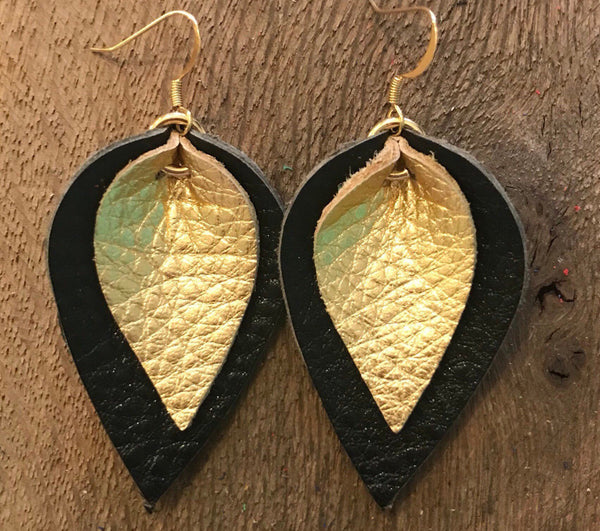 katie-double-layered-leather-leaf-shaped-earrings-in-black-and-metallic-gold