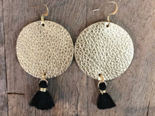 Tassel Patricia - Gold Leather Circle Earrings