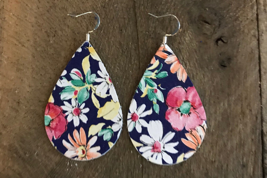 Gypsy Floral Teardrop Leather Earrings.