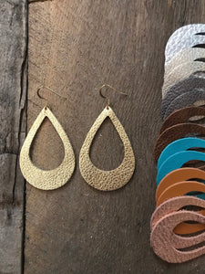 Cut Out Leather Teardrop Earrings (Small)
