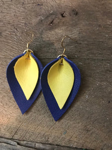 Katie - Double Layered Leather Leaf Shaped Earrings in Navy Blue and Bright Yellow