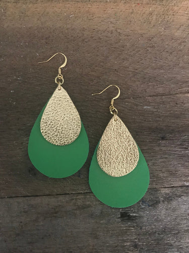Double Layered Leather Teardrop Shaped Earrings in Green and Metallic Gold --