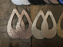 Metallic Teardrop Leather Cut Out Earrings - (large)