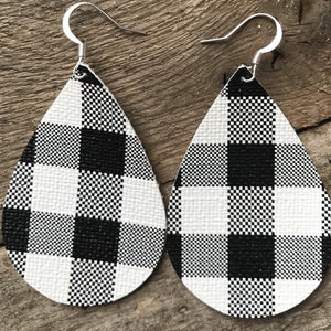 black-and-white-plaid-buffalo-check-vegan-leather-teardrop-earrings